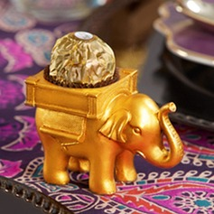 """LUCKY ELEPHANT GOLDEN TEALIGHT HOLDER"
