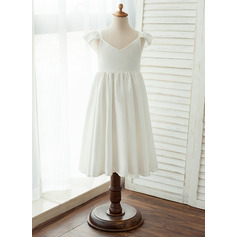 Tea-length Flower Girl Dress - Chiffon/Satin Sleeveless V-neck