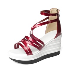 Women's Patent Leather Wedge Heel Pumps Wedges With Lace-up shoes