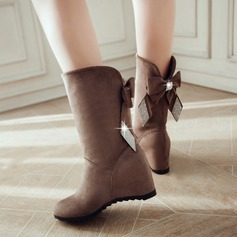 Women's Suede Flat Heel Boots With Bowknot shoes