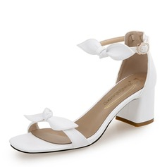 Women's PU Chunky Heel Sandals With Bowknot Buckle shoes