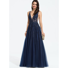 A-Line V-neck Floor-Length Tulle Prom Dresses With Beading Sequins (018187207)