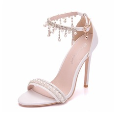 Women's Leatherette Spool Heel Peep Toe Pumps Sandals With Tassel Crystal Pearl