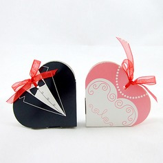 Tuxedo & Gown Heart-shaped Favor Boxes With Ribbons