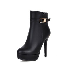 Women's Leatherette Stiletto Heel Ankle Boots With Buckle shoes