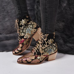 Women's PU Chunky Heel Boots With Applique Satin Flower shoes (088211154)