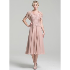 A-Line Square Neckline Tea-Length Chiffon Mother of the Bride Dress (267253160)
