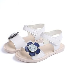 Girl's Peep Toe Leatherette Flat Heel Sandals Flats Flower Girl Shoes With Velcro Flower