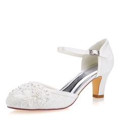 Women's Lace Silk Like Satin Stiletto Heel Closed Toe Pumps With Sequin Stitching Lace Pearl
