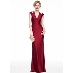 Sheath/Column V-neck Floor-Length Jersey Evening Dress (271194254)