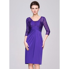 Sheath/Column V-neck Knee-Length Lace Jersey Mother of the Bride Dress With Ruffle