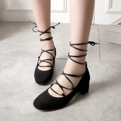 Women's Suede Chunky Heel Pumps With Lace-up shoes (085115168)