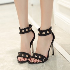 Women's Canvas Stiletto Heel Sandals Pumps Peep Toe With Rivet Zipper shoes