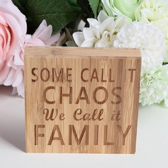 """SOME CALL IT CHAOS WE CALL IT FAMILY "" Nice Square Design Bamboo Wedding Sign"