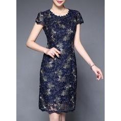 Polyester With Embroidery Above Knee Dress (199137182)