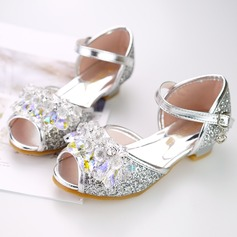 Girl's Peep Toe Leatherette Sparkling Glitter Flat Heel Flats Flower Girl Shoes With Velcro Flower