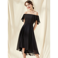 A-Line Off-the-Shoulder Asymmetrical Chiffon Bridesmaid Dress With Cascading Ruffles