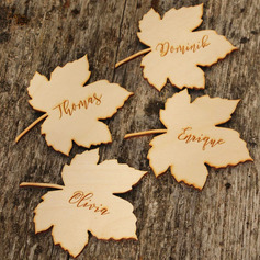 Personalized Maple Leaf Wooden Tags/Place Cards