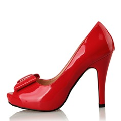 Women's Patent Leather Stiletto Heel Pumps Platform Peep Toe With Bowknot shoes (085095165)