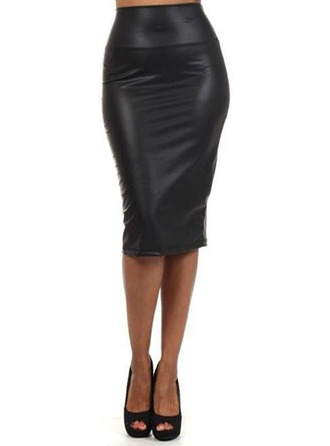 Bodycon Skirts Knee Length Plain Leather/PU Skirts