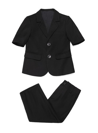 Boys 2 Pieces Solid Ring Bearer Suits With Jacket Pants