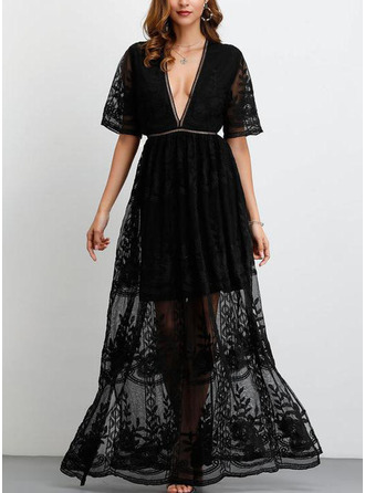 Lace With Lace/Solid Maxi Dress