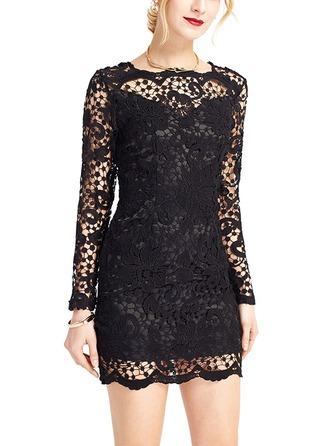 Lace With Lace Above Knee Dress