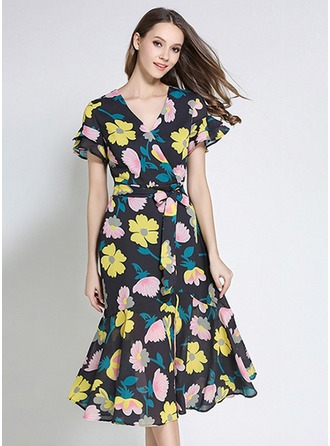 Polyester With Stitching/Print Above Knee Dress