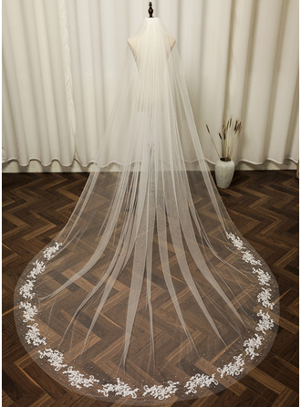 One-tier Cut Edge Cathedral Bridal Veils With Applique/Faux Pearl