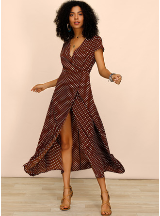 Polyester With PolkaDot/Slit Maxi Dress