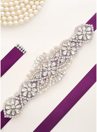 Estilo clásico Satén Fajas con Diamantes de imitación