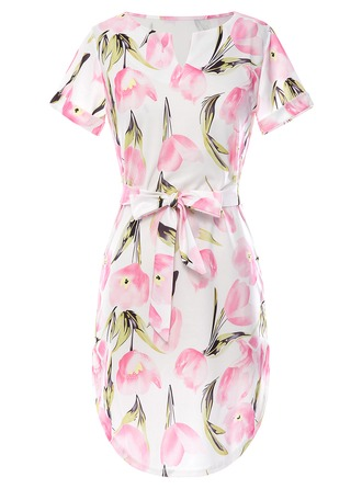 Cotton Blends With Print Knee Length Dress