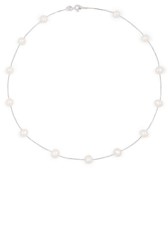 Silver Pearl/Beaded Circle Pearl Necklace Charm Necklace For Women