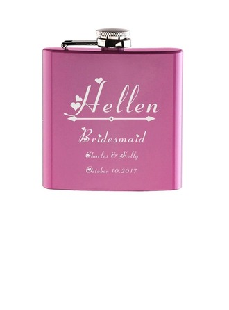 Bridesmaid Gifts - Personalized Elegant Vintage Stainless Steel Flask