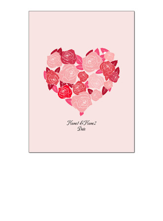 Heart Design Canvas Fingerprint Guestbook With Ink Pad