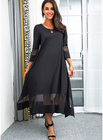 Solid Shift Round Neck 3/4 Sleeves Midi Elegant Little Black Dresses