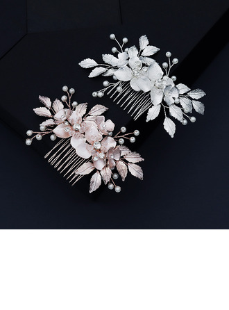 Ladies Beautiful Rhinestone/Alloy/Imitation Pearls Combs & Barrettes With Rhinestone/Venetian Pearl (Sold in single piece)