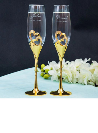 Groom Gifts - Personalized Heart Glass Zinc Alloy Champagne Flutes