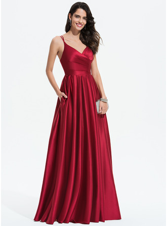 V-neck Floor-Length Satin Prom Dresses With Ruffle Pockets
