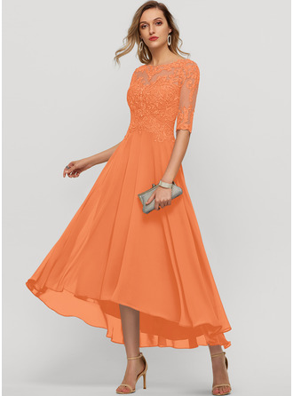 A-Line Scoop Neck Asymmetrical Chiffon Evening Dress With Beading Sequins