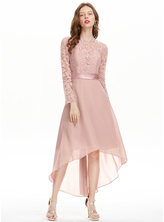 A-Line/Princess Scoop Neck Asymmetrical Chiffon Homecoming Dress With Bow(s)