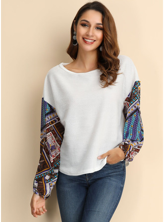 Print Patchwork Polyester Round Neck Knit Tops Sweaters