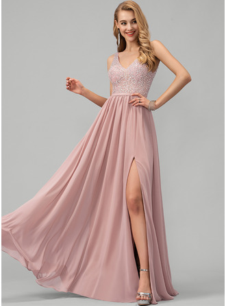 V-neck Floor-Length Chiffon Prom Dresses With Beading Sequins Split Front