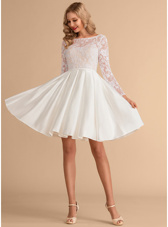 Scoop Neck Knee-Length Satin Lace Wedding Dress