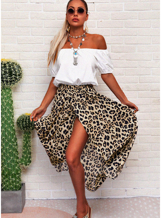 Leopard A-line Off the Shoulder 1/2 Sleeves Asymmetrical Casual Skater Dresses