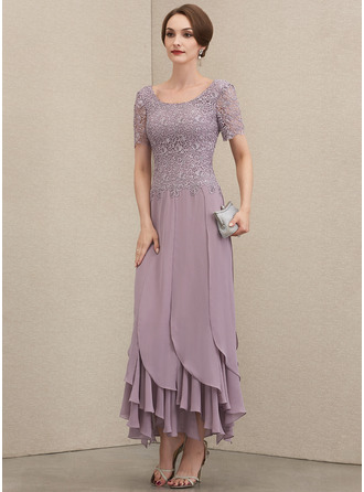 Scoop Neck Ankle-Length Chiffon Lace Evening Dress With Cascading Ruffles