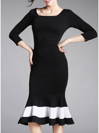 Cotton Blends With Stitching Midi Dress