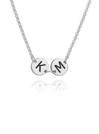 Custom Sterling Silver Engraving/Engraved Two Initial Necklace