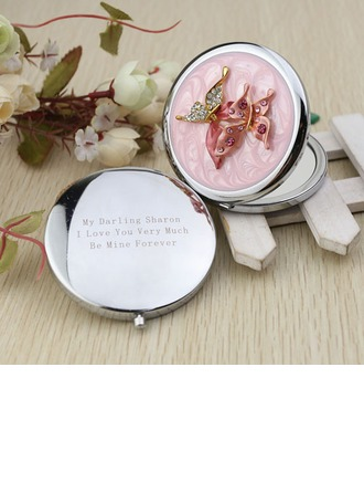 Personalized Butterfly Chrome Compact Mirror With Diamond