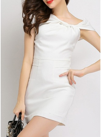 Polyester With Stitching/Resin solid color Above Knee Dress